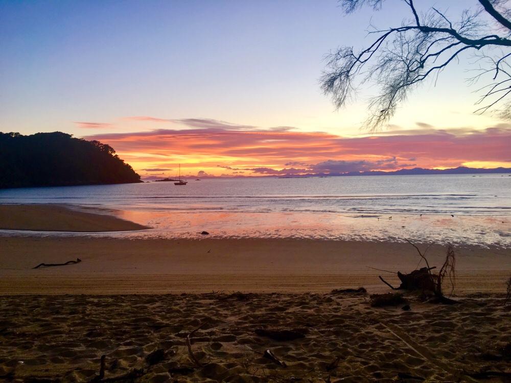 Bark Bay Campsite sunrise in Abel Tasman